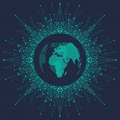 Global Network Connection. Geometric Abstract Background With Connected Line And Dots. Network And C poster