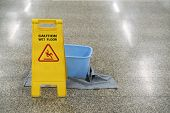 Cleaning Progress Caution And Wet Floor Sign In Office, Cleaning Service Concpet poster