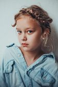Portrait Of 8 Years Old Russian Girl With Braid Hairdo. Casual Style. poster