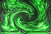 Green Matrix Digital Background. Distorted Cyberspace Concept. Characters Fall Down In Wormhole. Hac poster