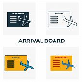 Arrival Board Icon Set. Four Elements In Diferent Styles From Airport Icons Collection. Creative Arr poster