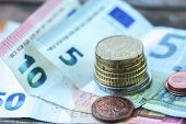 Euro Money. Euro Cash Background. Euro Money Banknotes, Euro Coins, Cents Close Up poster