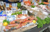 Seafood Display At Borough Market In London Uk poster