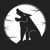 Silhouette Of The Wolf. Vector Logo. Wild Wolf. poster