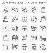 Oil And Gas Industry And Transportation Vector Icon Set For Oil And Gas Industry Graphic Design Elem poster