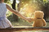 Teddy Bear Is A Best Friend For All Little Cute Girl. Child Autism Can Be More Happy And Fun When Th poster