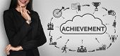 Achievement And Business Goal Success Concept - Creative Business People With Icon Graphic Interface poster