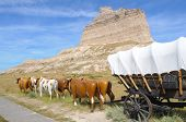 picture of ox wagon  - Scotts Bluff peak - JPG