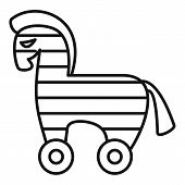 Computer Trojan Horse Icon. Outline Computer Trojan Horse Vector Icon For Web Design Isolated On Whi poster