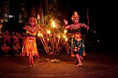 BALI, INDONESIA - APRIL 4: Presentation of traditional balinese Women Kecak Fire Dance on April 4, 2