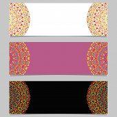 Horizontal Gravel Mandala Banner Set - Abstract Colorful Vector Graphics With Floral Mandalas poster
