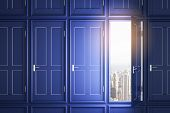 Modern Blue Doors To Success poster