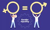 Gender Equality Concept. Flat Vector Male And Female Characters With Sex Sign. Illustration Gender E poster