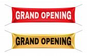 Grand Opening Banners. Vector Gold Red Realistic Hanging Fabric Mockup Set. Announcement For Busines poster