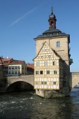 image of regnitz  - A view of the Altes Rathaus historical building in Bamberg Germany - JPG