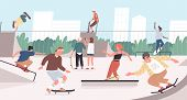 Happy Teenage Boys And Girls Or Skateboarders Riding Skateboards At Skatepark. Young Men And Women S poster