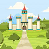 Fairy Tale Background With Castle. Majestic Building Palace With Towers Vector Medieval Castle On Gr poster