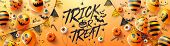 Happy Halloween Trick Or Treat Poster With Halloween Ghost Balloons.scary Air Balloons And Halloween poster