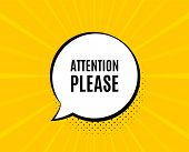Attention Please. Chat Speech Bubble. Special Offer Sign. Important Information Symbol. Yellow Vecto poster