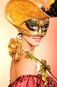 image of masquerade mask  - Portrait of a beautiful woman in medieval era dress - JPG