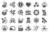 Chemistry Lab Icons. Chemical Formula, Microscope And Medical Analysis. Laboratory Test Flask, React poster