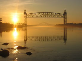 picture of cape-cod  - sunrise at the cape cod canal with the railway and bourne bridge - JPG