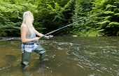 stock photo of fisherwomen  - woman fishing in river - JPG