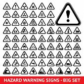 stock photo of hazard symbol  - Triangular warning hazard  symbols - JPG
