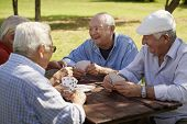 stock photo of mating  - Active retirement old people and seniors free time group of four elderly men having fun and playing cards game at park - JPG