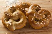 foto of pretzels  - Homemade Warm Soft Pretzel with salt on top