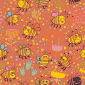 pic of bee cartoon  - Cartoon floral seamless pattern - JPG