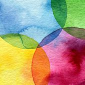 stock photo of canvas  - Abstract watercolor circle painted background - JPG