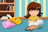 foto of braille  - A vector illustration of blind little girl reading a book in braille - JPG