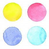 stock photo of paint palette  - Watercolor circles collection - JPG