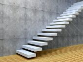 image of concrete  - Concept or conceptual white stone or concrete stair or steps near a wall background with wood floor - JPG
