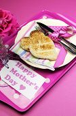 Happy Mothers Day Breakfast Tray With Pink Rose And Heart Shape Toast On Polka Dot Tray. Vertical.