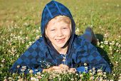 stock photo of missing teeth  - A cute happy smiling young boy with missing front teeth lying in grass with clover - JPG