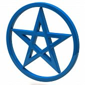 stock photo of pentagram  - Blue pentagram sign isolated on white background - JPG