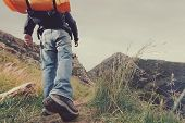 image of beard  - Adventure man hiking wilderness mountain with backpack - JPG