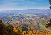stock photo of virginia  - Shenandoah River Bends viewed from the Woodstock Tower - JPG