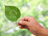 stock photo of ecology  - Eco house concept hand holding eco house icon in nature - JPG