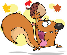 picture of cheeky  - Crazy Squirrel Cartoon Character Running With Acorn - JPG