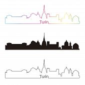 stock photo of turin  - Turin skyline linear style with rainbow in editable vector file - JPG