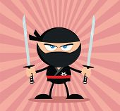 stock photo of ninja  - Angry Ninja Warrior Cartoon Character With Two Katana Flat Design - JPG