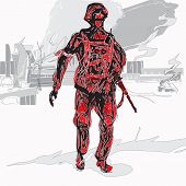 pic of anti-terrorism  - hand drawn sketch of a soldier carrying machine gun city ruins in background concept of anti - JPG