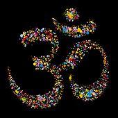 picture of om  - Grunge colourful religious hindu symbol Om vector illustration - JPG