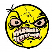 picture of angry smiley  - evil smiley cartoon doodle - JPG