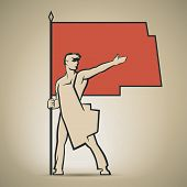 stock photo of communist symbol  - Soviet worker with red flag in his hand showing the way to communism vector illustration - JPG
