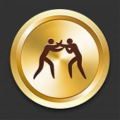 Boxing Icons on Gold Button Collection