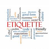 picture of polite  - Etiquette Word Cloud Concept with great terms such as manners polite social and more - JPG